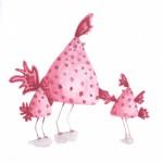 pink spotty birds